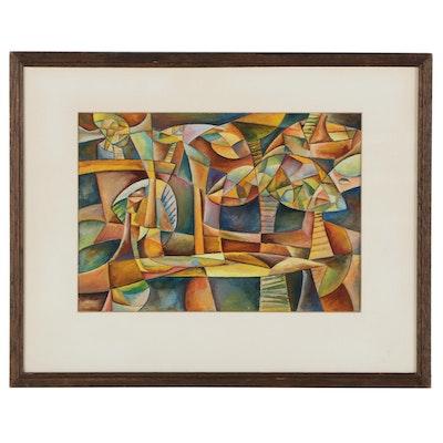 Robert Szesko Cubist Style Watercolor Painting, 1972