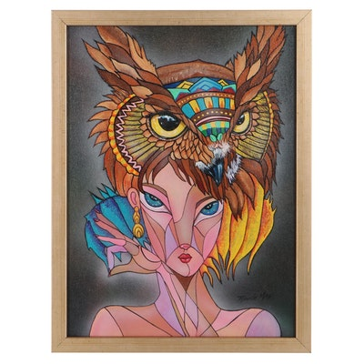 Ricardo Maya Abstract Acrylic Painting of Woman with Owl, 21st Century