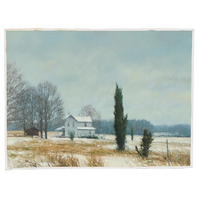 "Farmhouse Landscape Oil Painting ""Winter Cedar,"" 1989"