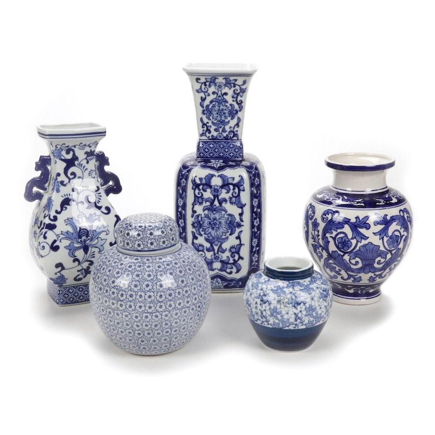 Chinese Blue and White Ceramic Vases and Planters