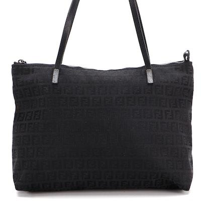 Fendi Zucchino Monogram Tote in Black Nylon and Leather