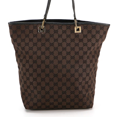 Gucci Shoulder Tote Bag in Dark Brown GG Canvas and Black Leather