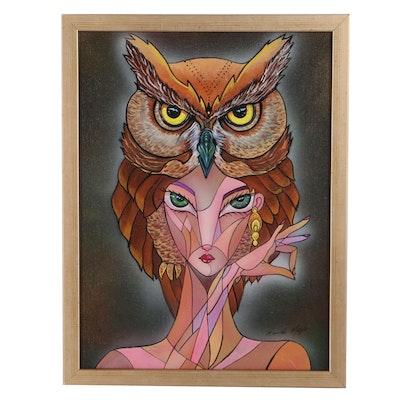 Ricardo Maya Acrylic Portrait With Owl, 21st Century