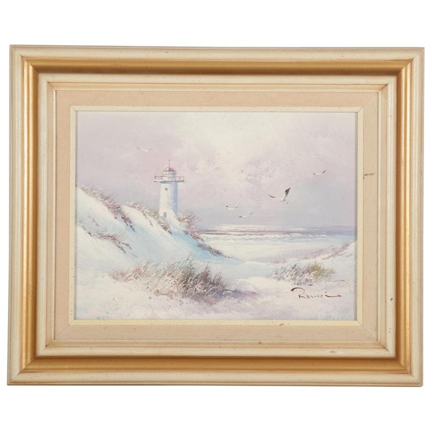 Coastal Beach With Lighthouse Oil Painting, Late 20th-21st Century