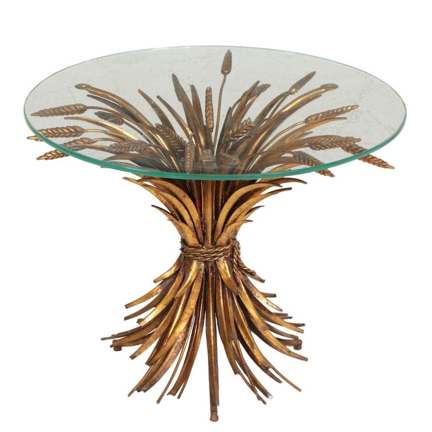 Mid Century Gilt Finish Wheat Bundle Glass Accent Table