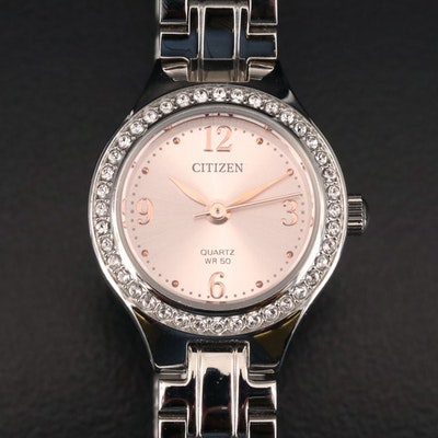 Citizen Crystal Bezel Stainless Steel Quartz Wristwatch