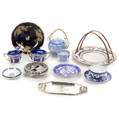 Japanese Porcelain and Glass Tableware, Mid to Late 20th Century