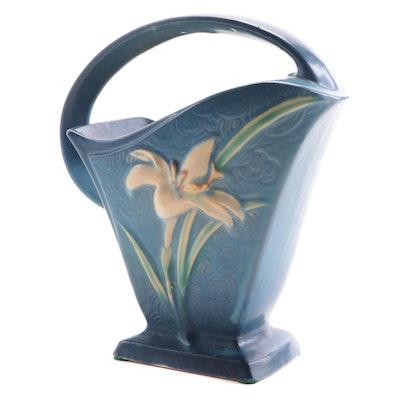 "Roseville Pottery ""Zephyr Lily"" Bermuda Blue Earthenware Vase, Mid-20th Century"