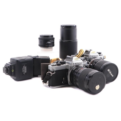 Nikon FE and FE2 SLR Cameras, Lenses and Sunpak Flash