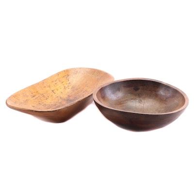 Primitive Wooden Dough Bowls, Antique