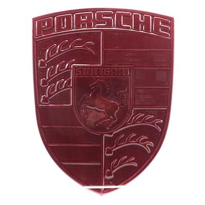 Porsche Ceramic Crest Factory Advertising, Late 20th Century