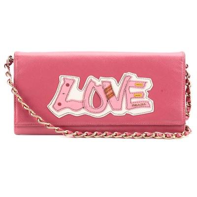 Prada Peonia Saffiano Leather Love Wallet on Chain