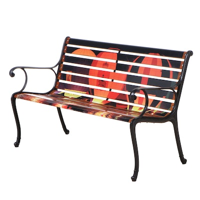 Cast Metal and Slatted Wood Garden Bench with Hot Air Balloon Decals