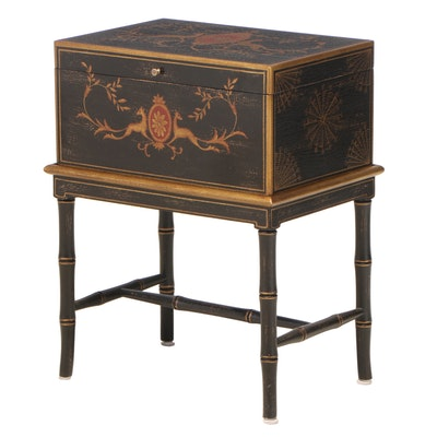 Harden Furniture Regency Style Ebonized and Gilt-Decorated Chest-on-Stand