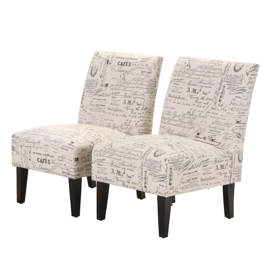 Pair of Contemporary Slipper Chairs in French Script Upholstery
