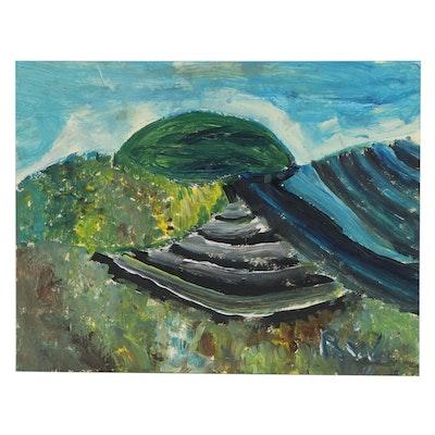 Robert Wright Folk Art Landscape Acrylic Painting