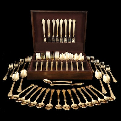 """Stanley Roberts """"Pavilion"""" Gold Tone Stainless Steel Flatware"""
