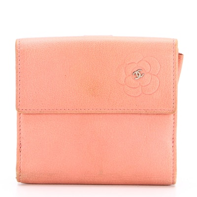 Chanel Wallet with Embossed Camellia and CC Logo in Pink Leather
