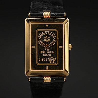 Zitura Swiss Bank Corp. 2g Fine Gold Dial Quartz Wristwatch