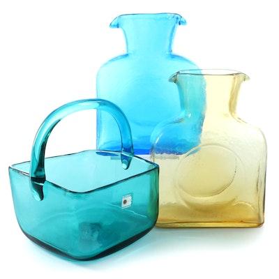 Blenko Handmade Glass Water Bottles and Basket