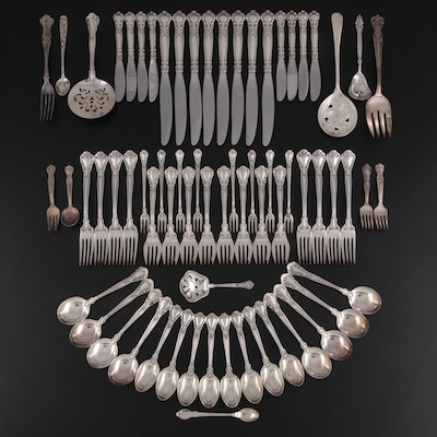 """Gorham """"Chantilly"""" Sterling Silver Flatware with Other Sterling & Plate Flatware"""