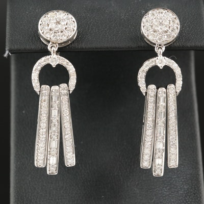 14K 2.22 CTW Diamond Door Knocker Earrings