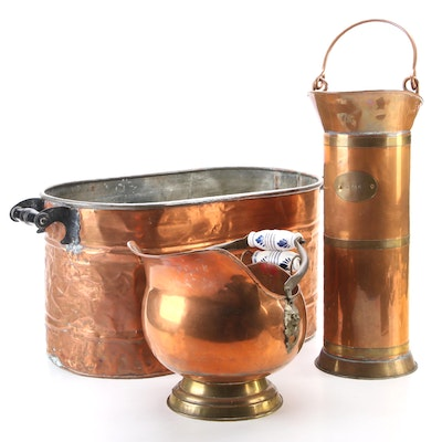 5 Kan Dutch Copper Coal Scuttle with Other Scuttle and Coal Bucket, Antique