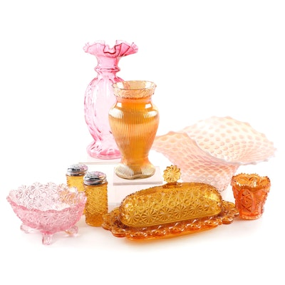 Amber and Pink Daisy and Button and Other Glass Tableware, Mid to Late 20th C.