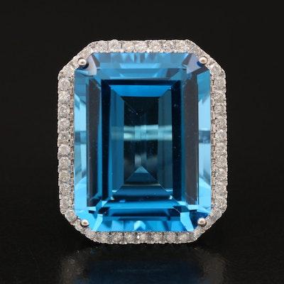 14K 34.84 CT Swiss Blue Topaz and Diamond Ring