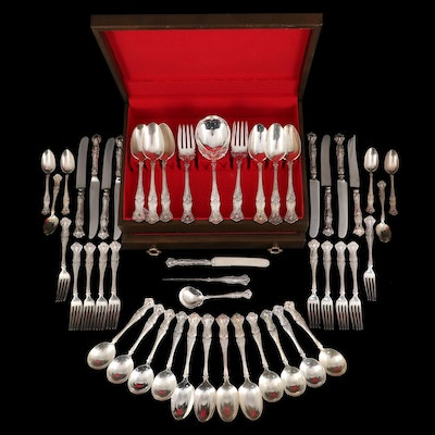 """1847 Rogers Bros. """"Vintage"""" Silver Plate Flatware with Chest"""