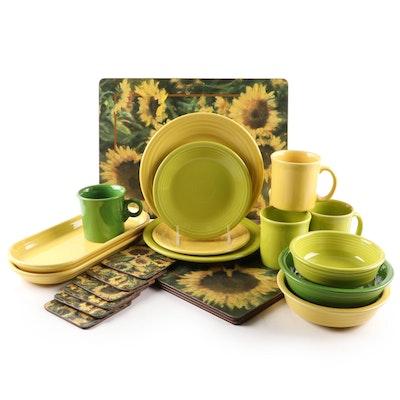 Homer Laughlin Fiesta Dinnerware and Sunflower Pimpernel Placemats