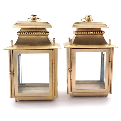 Frontgate Gold Tone Candle Lanterns