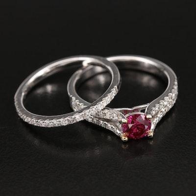 18K 1.17 CTW Diamond Ring and Enhancer Set