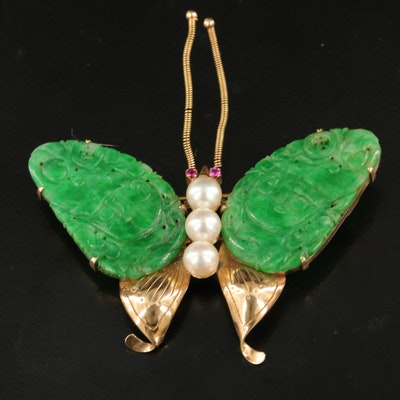 Vintage 14K Jadeite, Pearl and Ruby Butterfly Brooch