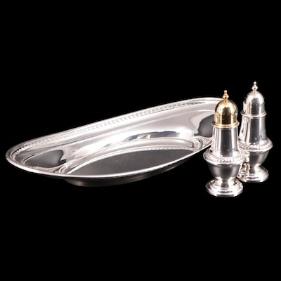 Alvin Sterling Silver Oval Bread Tray with Salt and Pepper Set