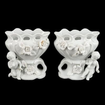 Ucagco Cherub and Floral White Ceramic Vases, Mid-20th Century