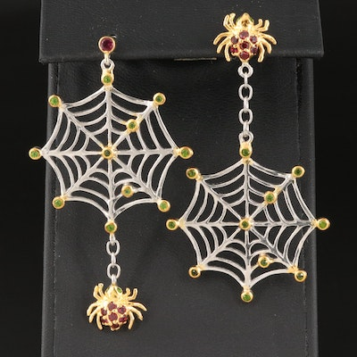 Sterling Garnet and Diopside Spider and Web Earrings