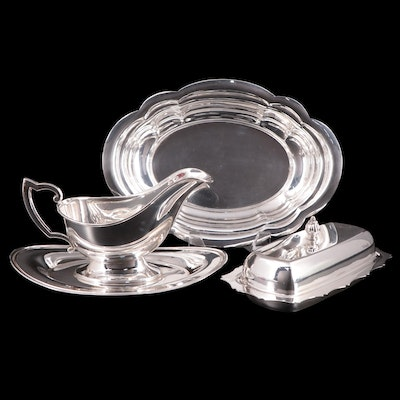 """Fisher Silversmiths Sterling """"Jack Shepard II"""" Butter, Vegetable Bowl and Gravy"""