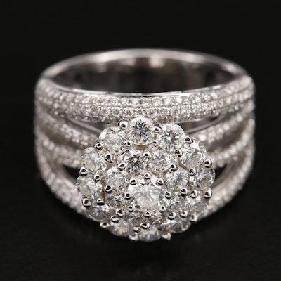18K 2.52 CTW Pavé Diamond Openwork Cluster Ring