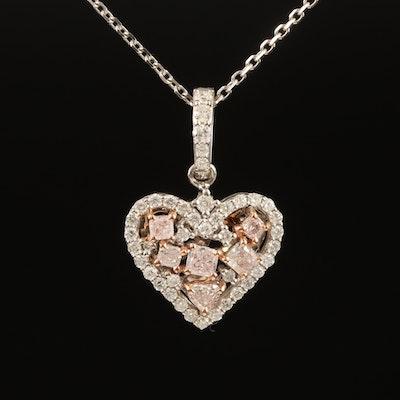 18K 0.77 CTW Diamond Heart Pendant Necklace