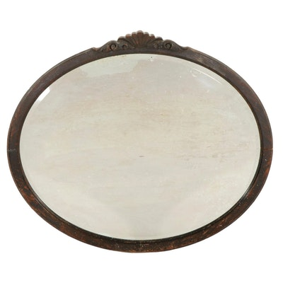 Carved Wooden Oval Wall Mirror, Early to Mid 20th Century