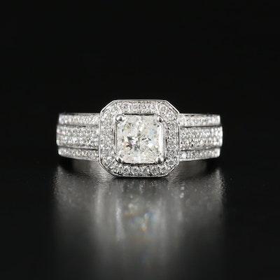 18K 1.50 CT Diamond Halo Ring with European Shank