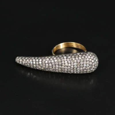 18K and Sterling 2.92 CTW Pavé Diamond Ring