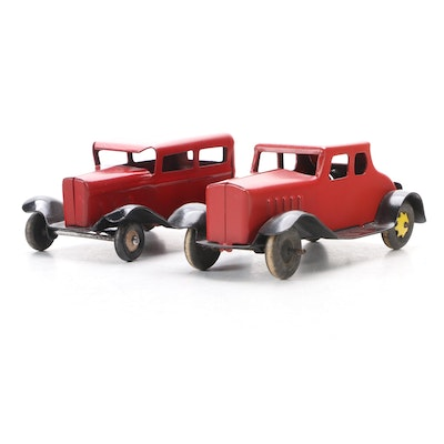 Red and Black Pressed Steel Toy Cars with Wood Wheels