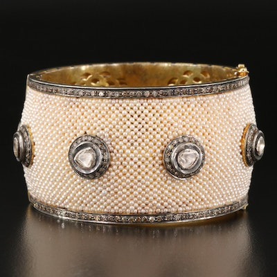 Wide Sterling Seed Pearl and 4.00 CTW Diamond Hinged Bangle with Diamond Studs