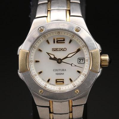 Seiko Coutura MOP Dial Two Tone Stainless Steel Quartz Wristwatch