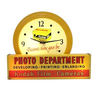 Kodak Film Photo Development Illuminating Sign and Clock, 1985
