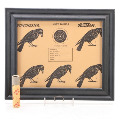 Winchester-Western Framed Crow Target and BB Shot, Early 20th Century