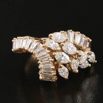 14K 2.05 CTW Diamond Cluster Ring