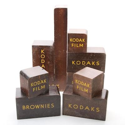 Kodak Brownie and Film Mahogany Display Stands, Mid-20th Century